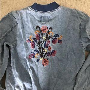 Embroidered denim bomber jacket